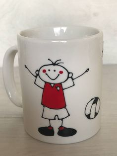 Fathers Day Football Mug Arsenal Gifts, Dad Crafts, Birthday Presents, Fathers Day, My Etsy Shop, Dads, Snoopy, Football, Unique Jewelry