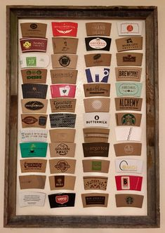 mug display Display coffee sleeves in a frame on the wall Coffee sleeve collection I Love Coffee, My Coffee, Coffee Shop, Starbucks Apron, Coffee Wall Art, Mug Display, Coffee Cup Sleeves, Kitchen Themes, Kitchen Ideas