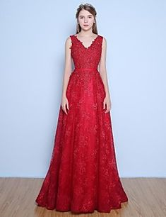 Dress+Ball+Gown+V-neck+Floor-length+Lace+/+Satin+/+Tulle+with+Appliques+/+Beading+/+Pearl+Detailing+/+Sash+/+Ribbon+–+USD+$+255.00