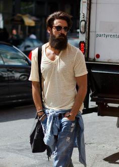 denim + tshirt +beard