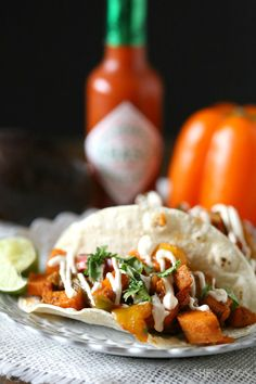 Spicy sweet potato tacos (use #vegan yogurt)