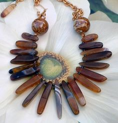 African Inspired Agate Stick Bead Statement Necklace #268 | GracefulDesigns - Jewelry on ArtFire
