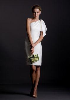 High End One Shoulder Satin Sheath Beach Wedding Gowns - Beach Wedding Dresses - Wedding Dresses