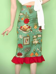 """Broad Minded Clothing - """"Viva Frida"""" Long Pencil Skirt with Red Ruffle Trim $19.95  May just have to get it I do love fruit !"""