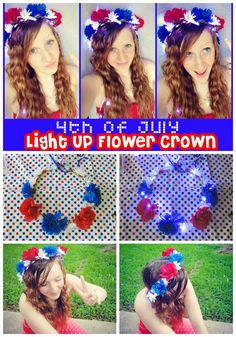 DIY 4th of july craft idea! LIGHT UP  Flower crown! Fourth of july fun craft!