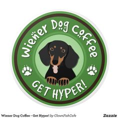 "Wiener Dog Coffee - Get Hyper! Ceramic Knob - This ceramic knob features an adorable brown and black dachshund peeking out of the center of a green circle around which are the words ""Wiener Dog Coffee"" and ""Get Hyper!"" separated by paw prints. Fun for a coffee lover or a dog lover. http://www.zazzle.com/wiener_dog_coffee_get_hyper_ceramic_knob-256400596011857094?view=113323930191857628&rf=238083504576446517&tc=pint"