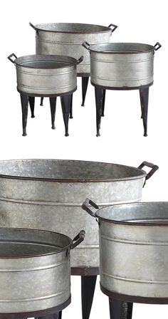 Weathered metal and lush greenery go hand in hand. These metal bucket planters are designed with convenient side handles and tall, supportive legs. This set includes three… Outdoor Tub, Outdoor Plants, Rustic Farmhouse Decor, Farmhouse Chic, Small Backyard Decks, Galvanized Planters, Diy Plant Stand, Deck Decorating