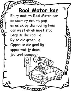 Kids Poems, Children Songs, Afrikaans Language, Alphabet Writing Practice, Farm Lessons, Afrikaanse Quotes, School Songs, Rhymes Songs, Teachers Aide