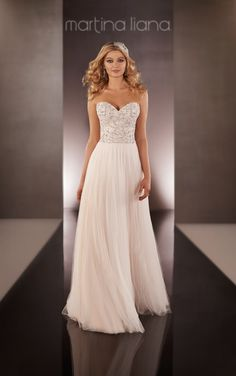646 Silk Chiffon Sheath Wedding Dress by Martina Liana