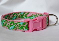 Dog Collar Made from Lilly Pulitzer Chomp Chomp Fabric Size: Your Choice on Etsy, $18.00