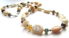Ammonites on the Beach, Long Necklace of Mixed Pressed Glass Beads, Beige and Aqua, with Sterling Silver Clasp