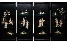 Late c. Chinese Coromandel Screen - Mira Parker, Design and Antiques - Top Vintage Dealers - Vintage Cherry Tree, Cherry Blossom, Room Screen, Brass Hinges, Dark Ages, Beautiful Landscapes, Lighthouse, Latte, Hand Carved