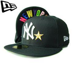 """【ニューエラ】【NEW ERA】9FIFTY STARシリーズ NEW YORK YANKEES """"NY""""ブラックXホワイトXマルチカラー アンダーバイザー【CAP】【ニューヨーク・ヤンキース】【帽子】【星】【snap back】【BLACK】【黒】【ゴールド】【スター】【under visor】【楽天市場】"""