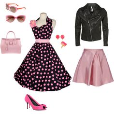 Grease is the Word, created by tizzy-potts. 1950 Outfits, Rockabilly Outfits, Pin Up Outfits, Rockabilly Fashion, 1950s Fashion, Vintage Outfits, Cute Outfits, Vintage Fashion, Fashion Outfits
