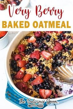 Berry baked oatmeal is delicious and brimming with ripe berries. Make this recipe for the week ahead and warm up for a quick and easy breakfast that will have you looking forward to the morning rush! While berries are the name of the game in this scrumptious baked oatmeal recipe you can easily make it using any stone fruit, apples, bananas, or any combo of the above you desire. | The Delicious Spoon @thedeliciousspoon #bakedoatmeal #oats #fallbreakfastrecipes #oatmealrecipes… Healthy Breakfast Options, Egg Recipes For Breakfast, Healthy Breakfast Smoothies, Quick And Easy Breakfast, Baked Oatmeal Recipes, Soda Recipe, Kitchen Recipes, Clean Eating Recipes, Whole Food Recipes