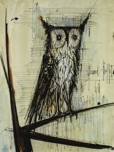 View HIBOU By Bernard Buffet; Access more artwork lots and estimated & realized auction prices on MutualArt. Blue Horse, India Ink, Mid Century Art, Owl Art, Pencil Portrait, Magazine Art, Animal Paintings, Watercolor And Ink, Art Market