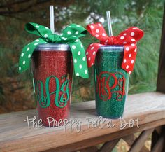 Monogrammed Red or Green Glitter Insulated Christmas Tumbler