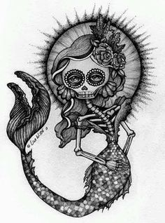 29 Ideas Tattoo Mermaid Drawing Art For 2019 Skeleton Drawings, Skeleton Tattoos, Art Drawings, Evil Tattoos, Drawing Art, Tatoos, Mermaid Drawings, Mermaid Tattoos, Feather Tattoos