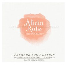 by PaperLarkDesigns on Etsy Photography Logo Design - Custom Pre-made watercolor logo