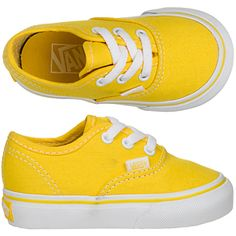 Vans Authentic toddlers shoes (yellow-white) - Baby Girl Shoes - Ideas of Baby Girl Shoes Cute Baby Shoes, Baby Boy Shoes, Toddler Shoes, Kid Shoes, Toddler Outfits, Baby Boy Outfits, Girls Shoes, Toddler Girl, Kids Outfits