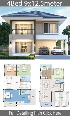 12 Duplex House Design with Floor Plan Duplex House Design with Floor Plan. 12 Duplex House Design with Floor Plan. Home Design Plan with 3 Bedrooms Modern House Floor Plans, Simple House Plans, Simple House Design, Minimalist House Design, Modern House Design, Modern Houses, Simple Designs, 2 Storey House Design, Duplex House Plans