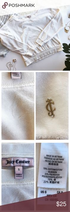 """✨BLK FRI SALE✨ends 11/26! JUICY COUTURE Sweatshirt This velvet sweatshirt is a luxe upgrade to a closet staple! Excellent pre-loved condition, no stains ****notice flaw in velvet shown in 2nd photo, flaw located in front by collar.  Approx. Measurements  Length: 20.5"""" Bust: 19"""" 🛍Bundle & Save 20% on 2+ items! 🙅🏼No trades / selling off of Posh.  ✨Offers always welcome!✨ Juicy Couture Sweaters Crew & Scoop Necks"""