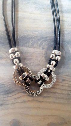 collar de cuero de mujer anillo sin fin contraparte de la #pulseras #bisuteria #pulserasdebisuteria #mujer #peru