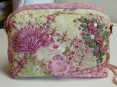 I ❤ crazy quilting & ribbon embroidery . . . Beaded Embroidered CQ Bag Pink and Green side2