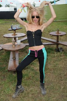 Model Mary Charteris wearing simply the perfect pants for #Glastonbury with her unique glamour style. #ReplayFestival