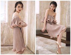 off shoulder dress in pinkknee lengthpleatedflouncinglayersConvertibletube dresseleganthigh fashionfor partyresort.--E0163 (128.00 USD) by HerselfStudios