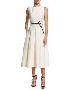 Brunello Cucinelli Sleeveless Cotton-Blend Midi Dress w/Grosgrain Belt, Butter