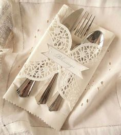 Simple Yet Elegant Ideas for Table Decor: DIY Utensil Wraps Thanksgiving Napkin Holder Thanksgiving Decoration Idea Thanksgiving Napkin Ring Thanksgiving Utensil Holder DIY Napkin RingTwelve Doily Wrapped Dinner Place Settings with Custom Wording. Doilies Crafts, Paper Doilies, Place Settings, Table Settings, Dinner Places, Napkin Folding, Deco Table, Decoration Table, Wedding Table
