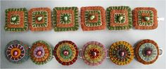 jewelry, felt, bracelet, embroidery, blue, tan, orange, yellow, circles, squares, beaded