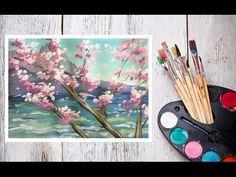 Как нарисовать сакуру на фоне скал гуашью! #Dari_Art - YouTube