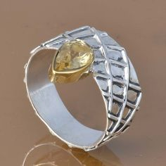 CITRINE 925 SOLID STERLING SILVER EXCLUSIVE RING 4.12g DJR7442 #Handmade #Ring