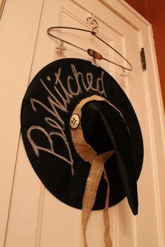 I must admit, I& sort of bewitched with my fun little Halloween themed door decor! Take a look at my DIY chalkboard witch hat creation h. Holidays Halloween, Halloween Crafts, Holiday Crafts, Happy Halloween, Halloween Party, Holiday Ideas, Autumn Ideas, Halloween 2020, Halloween Stuff