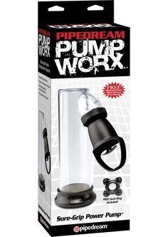 PUMP WORX SURE GRIP POWER PUMP - Enjoy single-handed satisfaction and incredible size increases with the Sure-Grip Power Pump! With each pull of the one-handed trigger, your pleasure rod will grow bigger, thicker, and swell with power. Once you penetrate the smooth, flexible PVC opening, you'll quickly discover throbbing, rock-hard erections that feel great and last and lastwith no midway performance letdowns! The clear vacuum tube allows you to watch your cock grow, and the quick-release…