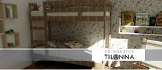 3D - sisustussuunnittelu / rustiikkinen lastenhuone, rustic bedroom, chidren`s room/ 3D-sisustus Tilanna