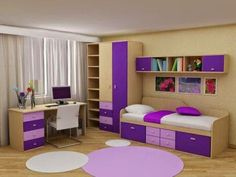 simple girls room furniture with storage in purple color