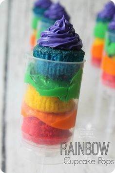 St Patrick's Day Recipes - Rainbow Cupcakes Push Pops!  This would be a great Rainbow Birthday Party Recipe too!