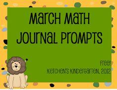 Ketchen's Kindergarten: March Math Journals