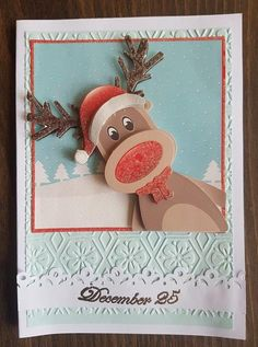 3D decoupage handmade embossed Christmas greeting card - December 25, Rudolph the reindeer with red nose peeking from the frame by ArtDenia on Etsy