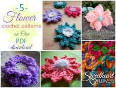 Five Flower Crochet Patterns on ONE PDF Download