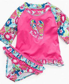 Pink Platinum Kids Swimwear, Little Girls or Toddler Girls Two-Piece Rash Guard and Bottoms - Kids - Macy's
