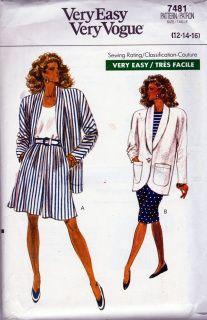 Very Easy Very Vogue 7481; ©1989; Misses' Jacket, Shorts & Skirt. Semi-fitted, unlined, below hip jacket has shawl collar, shoulder pads, pockets and long sleeves. Shorts, above mid-knee or straight, fitted skirt, below mid-knee, has waistband and back zipper. Shorts: front pleats and side pockets. Skirt: back hemline vent. Purchased top. ​  ​PATTERN IS FACTORY FOLDED​ Envelope is VG​+  ​FREE USA Shipping Fashion History, 90s Fashion, Vogue Sewing Patterns, Fitted Skirt, Shoulder Pads, Short Skirts, Hemline, Vintage Outfits, Size 12