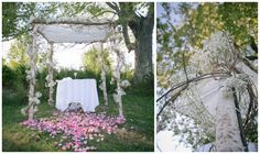 Modern Jewish Wedding in the Berkshires | Modern Jewish Wedding Blog Photo by Tobin Photography. A #unique and #earthy (but #elegant) #chuppah for this bride and groom. Represents their future home and its open walls. #babysbreath #branches #green