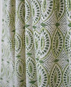 block print fabric drapes by Tonic Living. Green and unbleached natural cream make a beautiful play on this Indian handprint cotton. Available at www.tonicliving.com #tonicliving #blockprint #lauraandkiran