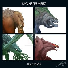 Monsterverz – Titan Days by pyrasterran on DeviantArt All Godzilla Monsters, Godzilla Comics, Cool Monsters, King Kong, Monster Art, Monster Hunter, Godzilla Suit, Godzilla Wallpaper, Creature Drawings