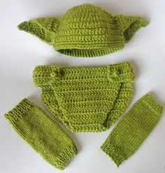 Yoda Set 3pcs For Boy Baby Hat  Diaper Cover And by KernelCrafts