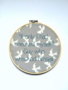 Wall Art Hand Embroidered  Funny Hoop Art  Joke by bleuroo on Etsy